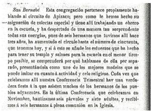 Párrafo del Acta de la Conferencia Anual de la IME en México, 1904